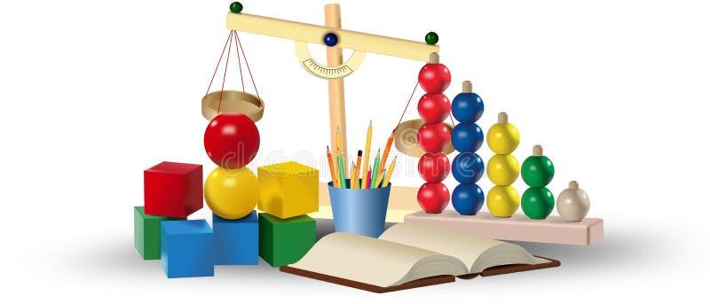 Uppsättning av kulöra leksaker och bildande hjälpmedel books isolerat gammalt för begrepp utbildning stock illustrationer