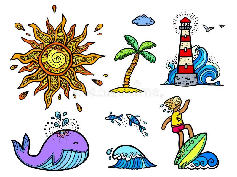 Uppsättning av kulöra lineartklistermärkebeståndsdelar Boho stilsol, surfare med brädet på vågen, violett val, klotterstil vektor illustrationer