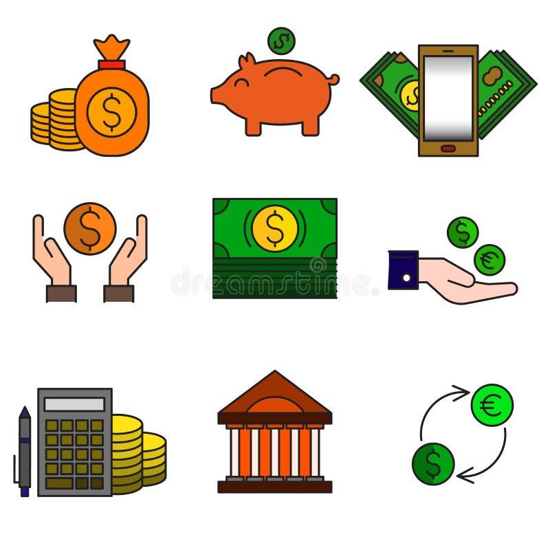 Uppsättning av kulöra moderna symboler för affär och bankrörelsen stock illustrationer