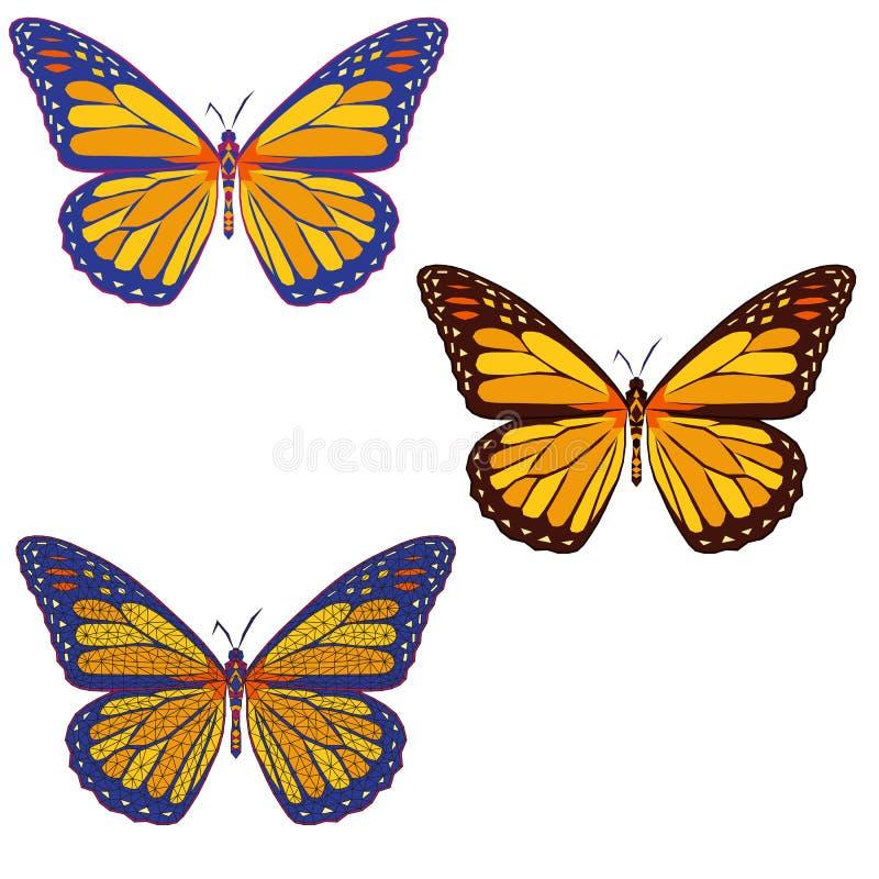 Uppsättning av kulöra mosaikfjärilar på med bakgrund isolerat vektor illustrationer