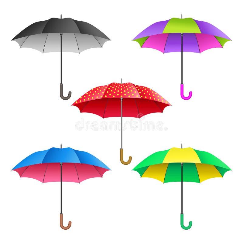 Uppsättning av kulöra realistiska öppna paraplyer Paraplysamling royaltyfri illustrationer