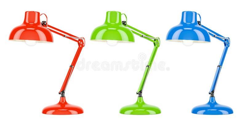 Uppsättning av kulöra skrivbordlampor, tolkning 3D royaltyfri illustrationer