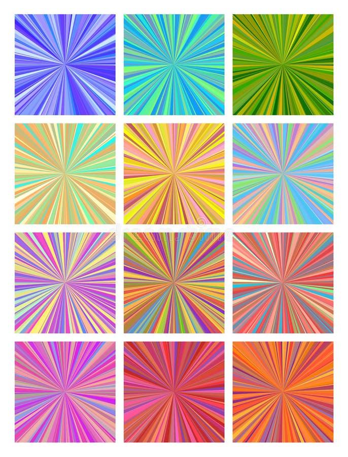 Uppsättning av kulöra strålningsbakgrunder skriva för mall för designbrandanteckningsbok som är ditt vektor illustrationer
