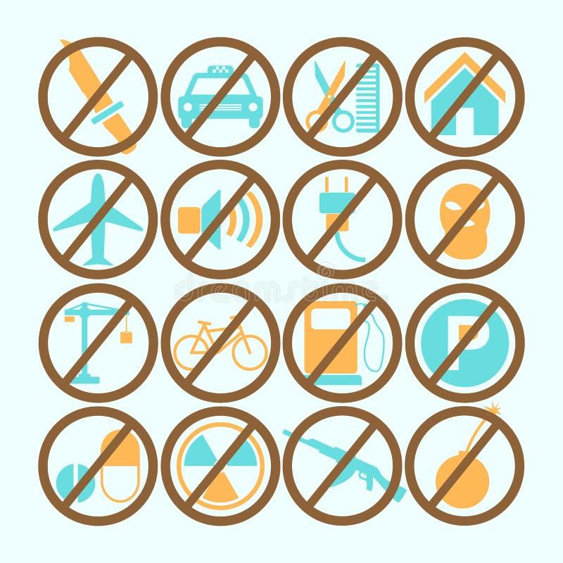 Uppsättning av kulört förbjudit tecken också vektor för coreldrawillustration stock illustrationer