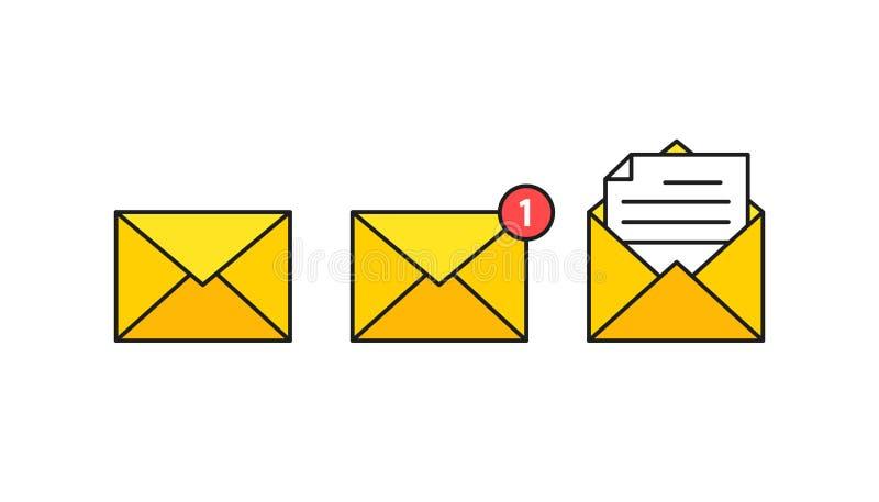 Uppsättning av kuvertsymboler med en bild av en stängd bokstav Pappers- dokument som är bifogat i ett kuvert Leverans av överenss royaltyfri illustrationer