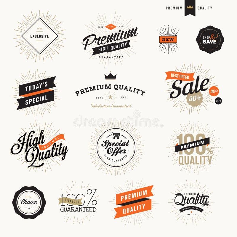 Uppsättning av kvalitetsetiketter och emblem för tappning högvärdiga för befordrings- material och rengöringsdukdesign stock illustrationer