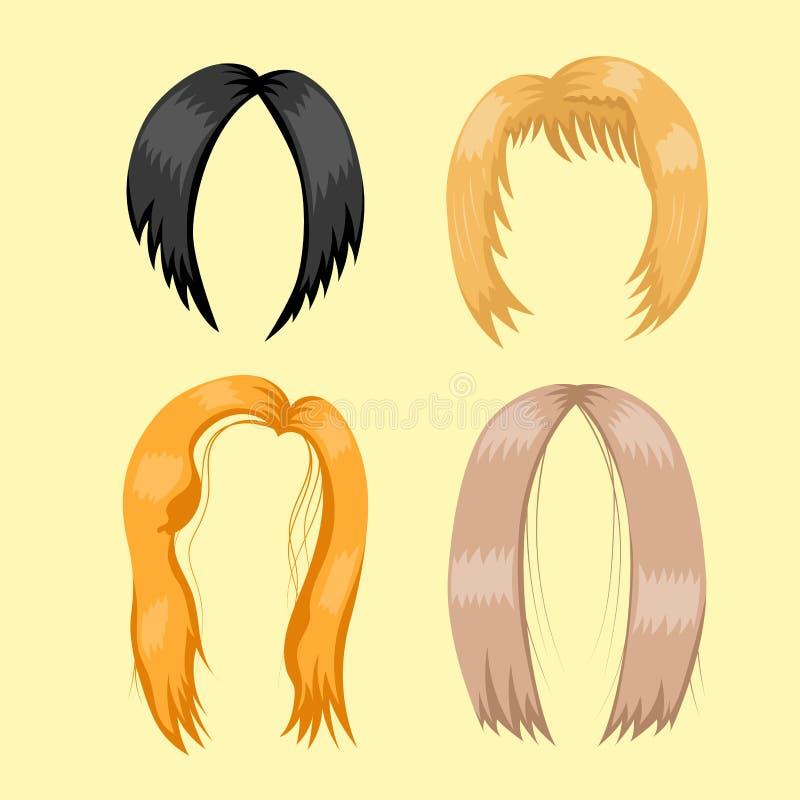 Uppsättning av kvinnahår som utformar frisyr för färg för brun kontur för vektorillustrationbarn vård- vektor illustrationer