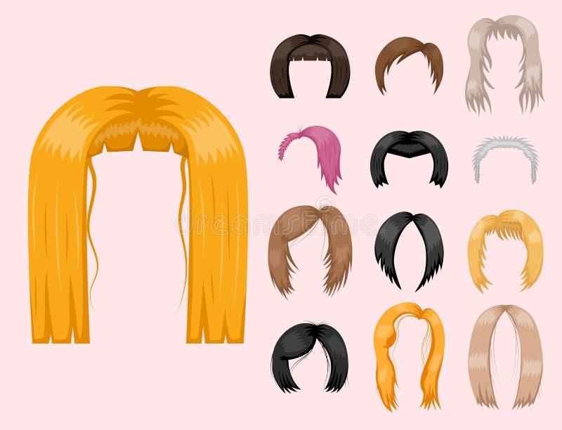 Uppsättning av kvinnahår som utformar frisyr för färg för brun kontur för vektorillustrationbarn vård- royaltyfri illustrationer