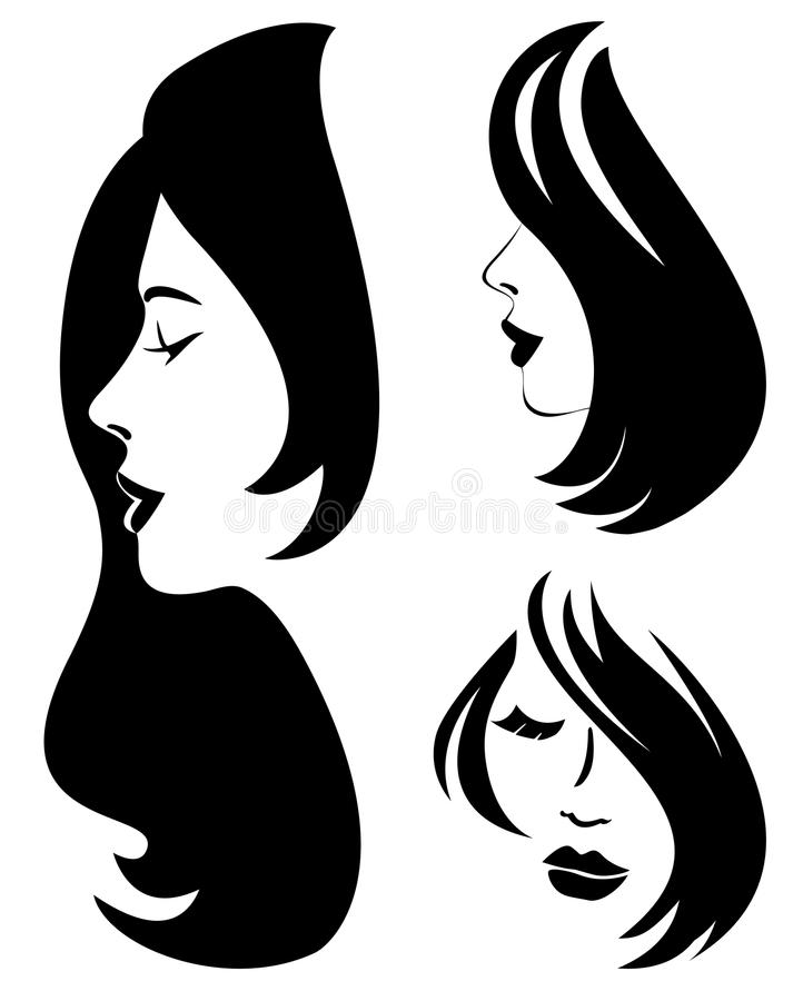 Uppsättning av kvinnakonturn med att utforma för hår vektor illustrationer