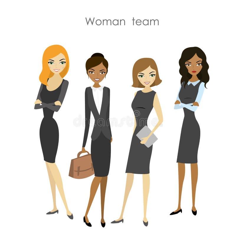 Uppsättning av kvinnan för affär fyra royaltyfri illustrationer