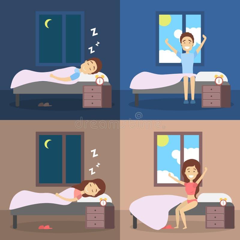 Uppsättning av kvinnan och mannen som sover i sängen och vaknar upp stock illustrationer