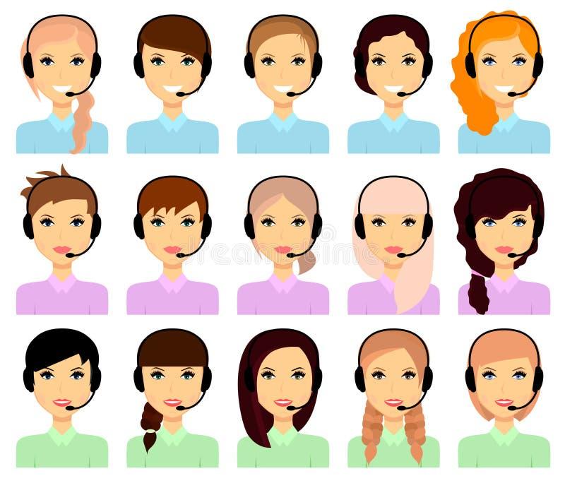 Uppsättning av kvinnliga avatars i hörlurar royaltyfri illustrationer
