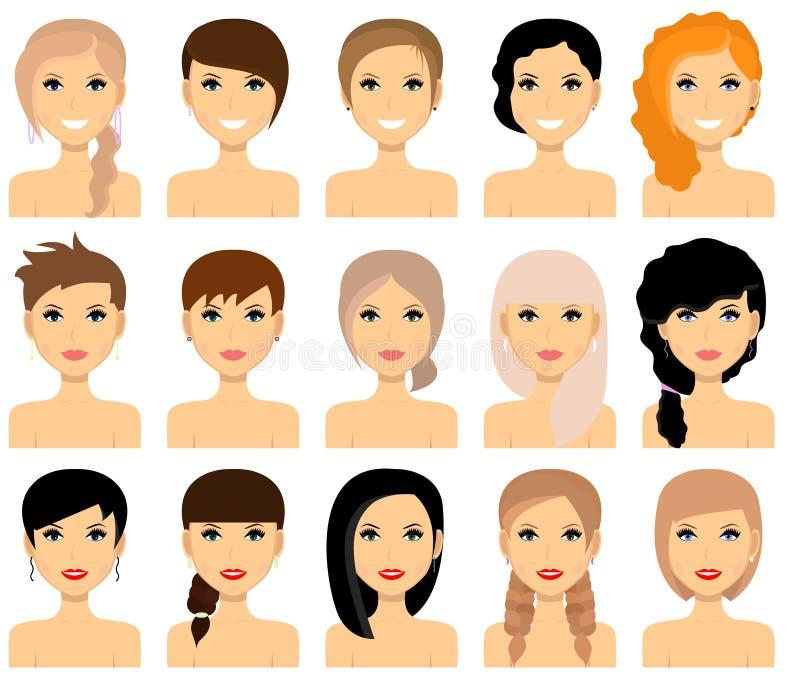 Uppsättning av kvinnliga frisyrer vektor royaltyfri illustrationer