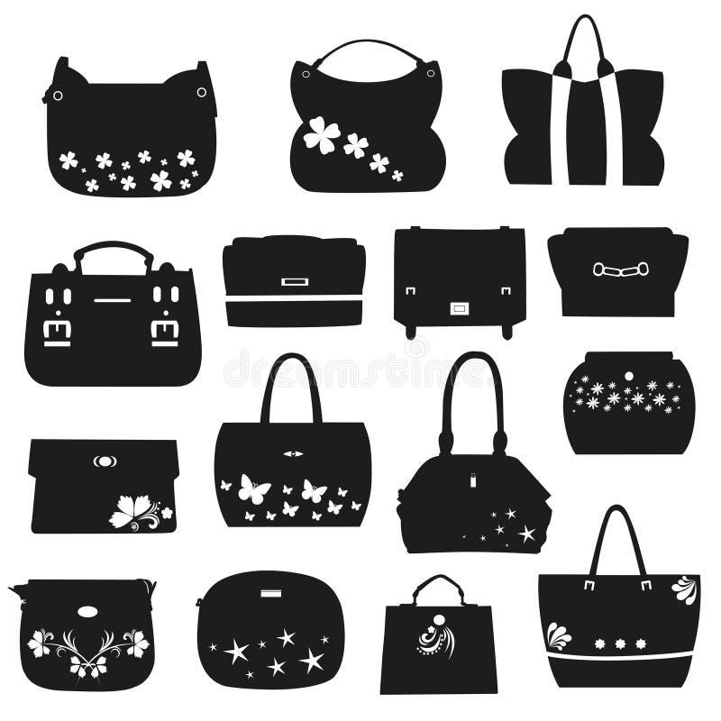 Uppsättning av kvinnliga handväskor med blommor vektor illustrationer