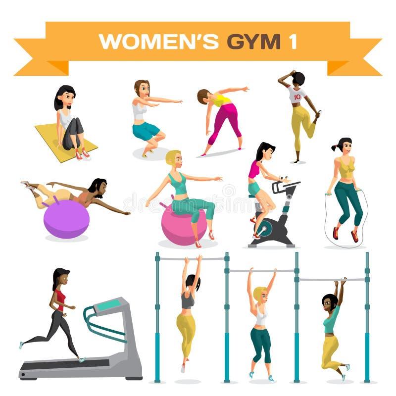 Uppsättning av kvinnor som är förlovade i övning i idrottshallen Del 1 Vektorlägenhet vektor illustrationer
