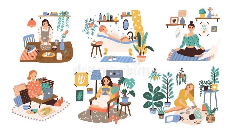 Uppsättning av kvinnor som tycker om deras fria tid, utför fritidsaktiviteter och gör hobbyer - odla den hem- trädgården royaltyfri illustrationer