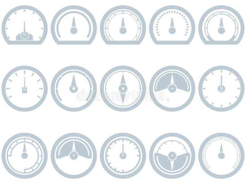 Uppsättning av lägenhet som femton är enkel, hastighetsmätarestilsymboler stock illustrationer