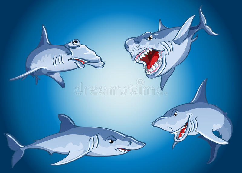 Uppsättning av läskiga hajar i tecknad filmstil royaltyfri illustrationer
