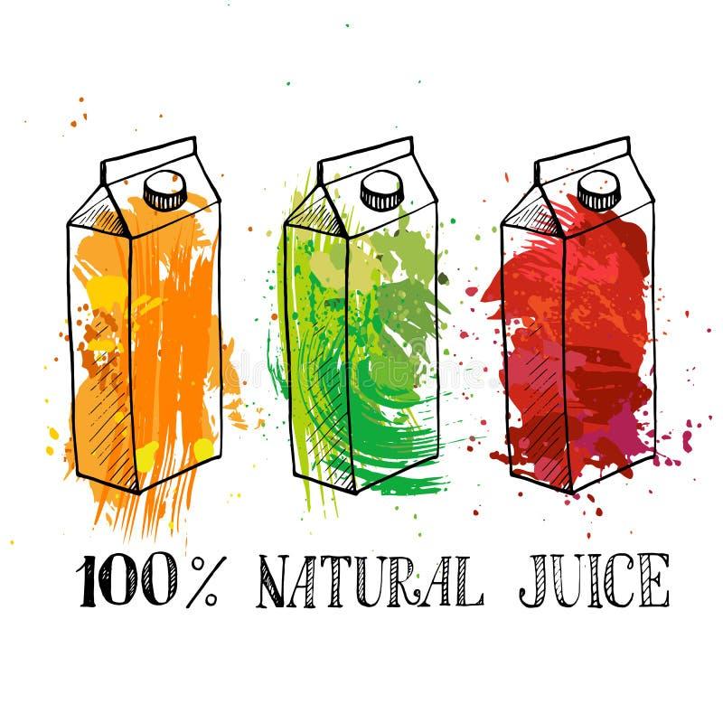 Uppsättning av lådaaskar med fruktfruktsaft stock illustrationer