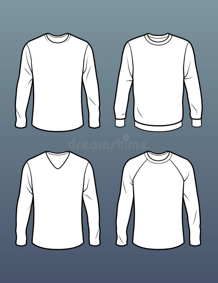 Uppsättning av 4 långa skjortamallar för muff t royaltyfri bild
