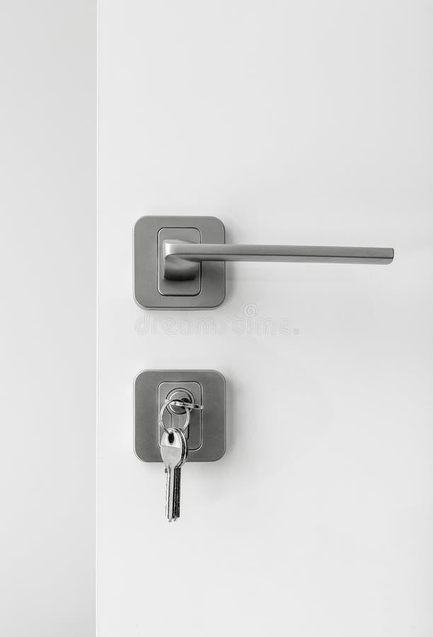 Uppsättning av låset och handtaget på dörren arkivbilder