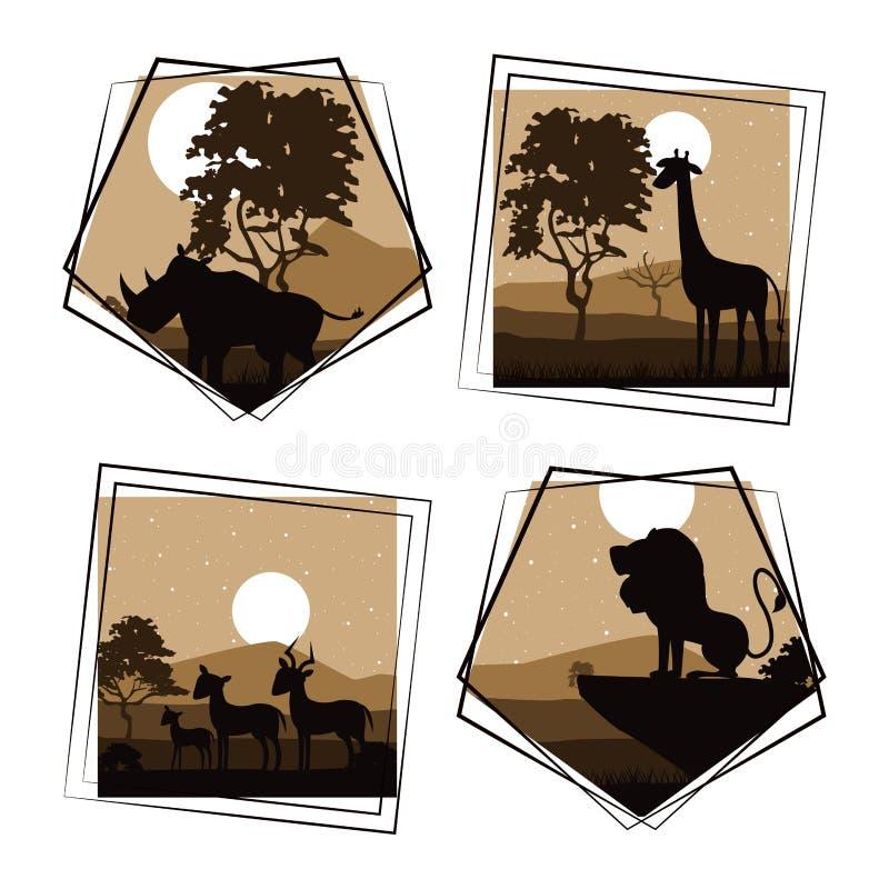 Uppsättning av lösa afrikanska djur stock illustrationer