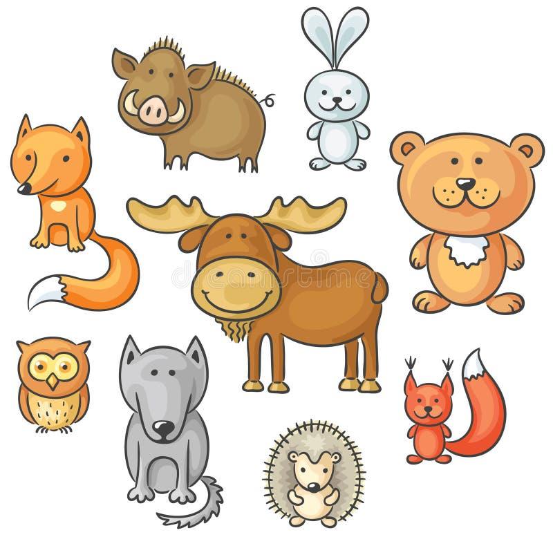 Uppsättning av lösa skogdjur stock illustrationer