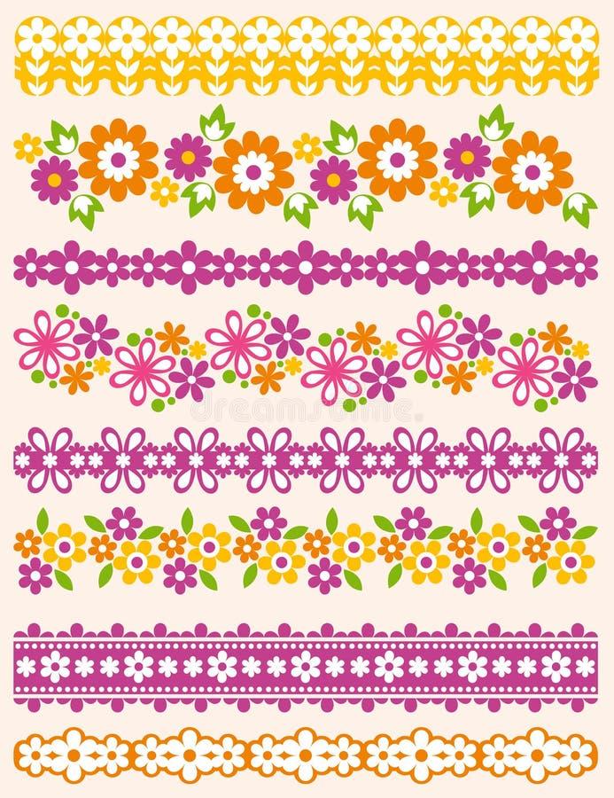 Uppsättning av Lace som är pappers- med blomman, vektor stock illustrationer