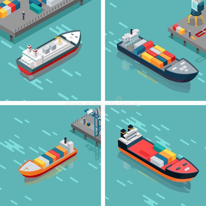 Uppsättning av last- eller behållareskeppet som lastar av gods stock illustrationer