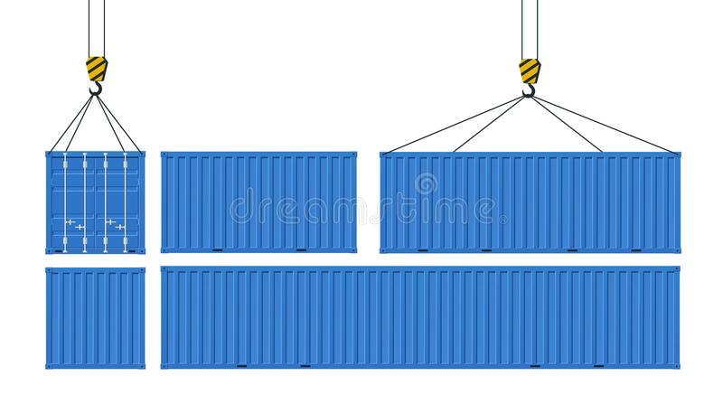 Uppsättning av lastbehållare för transport av gods royaltyfri illustrationer