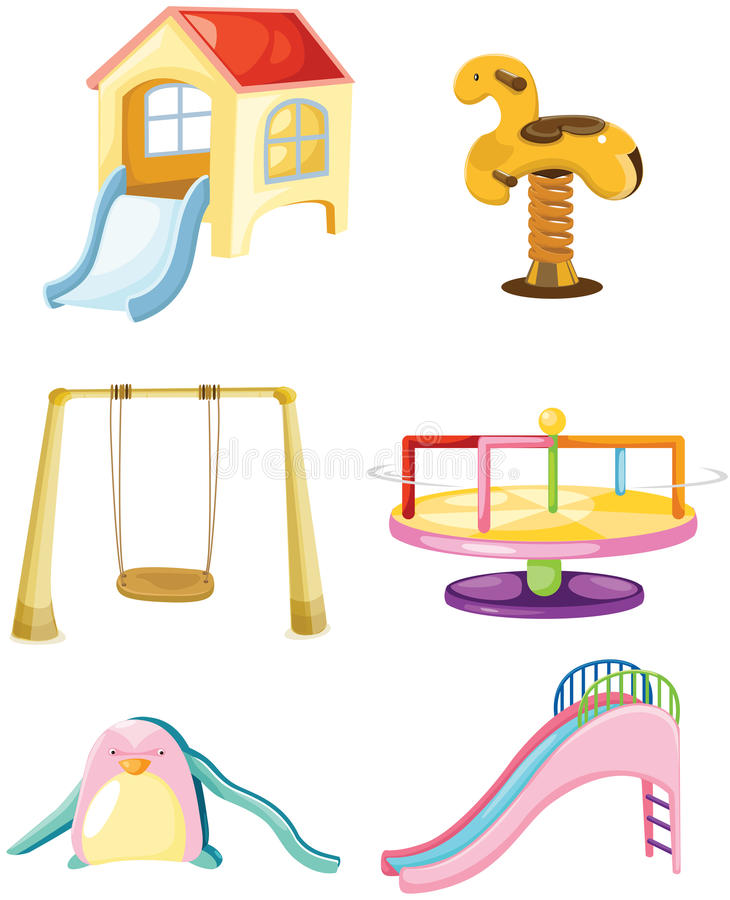 uppsättning av lekplatsen royaltyfri illustrationer