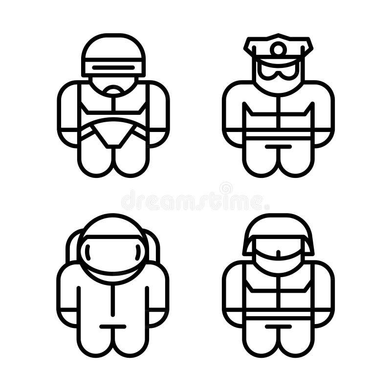Uppsättning av leksaken Astronaut robot, soldat, polis royaltyfri illustrationer