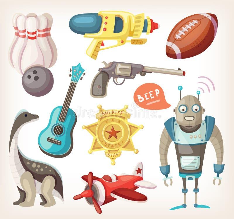 Uppsättning av leksaker för barn stock illustrationer