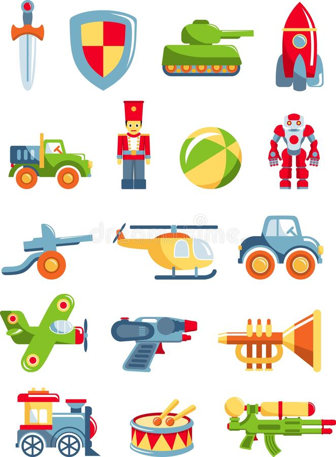 Uppsättning av leksaker för pojkar vektor illustrationer