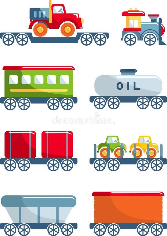 Uppsättning av leksaker som är järnväg i en plan stil royaltyfri illustrationer