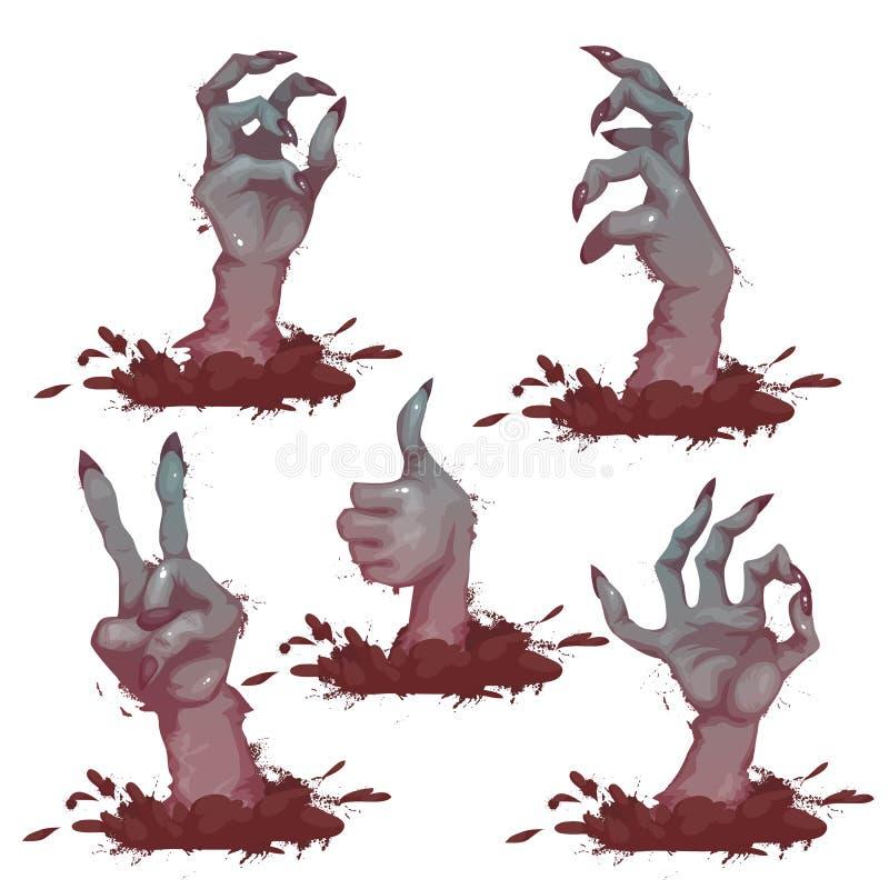 Uppsättning av levande dödhänder för allhelgonaaftonparti också vektor för coreldrawillustration royaltyfri illustrationer