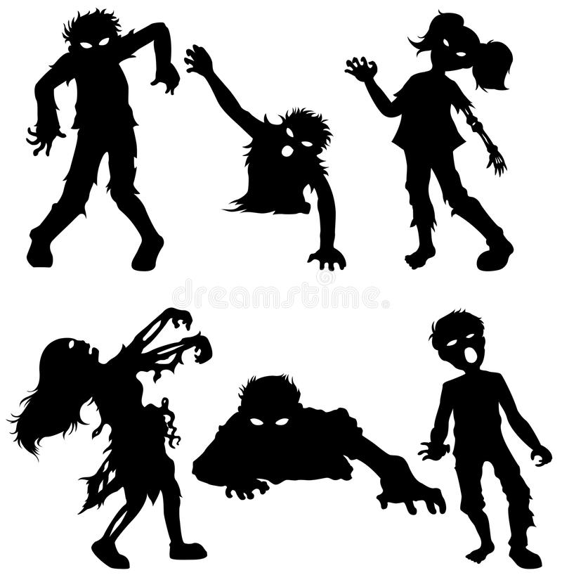 Uppsättning av levande dödmannen och kvinnlig av svarta konturer vektor illustrationer