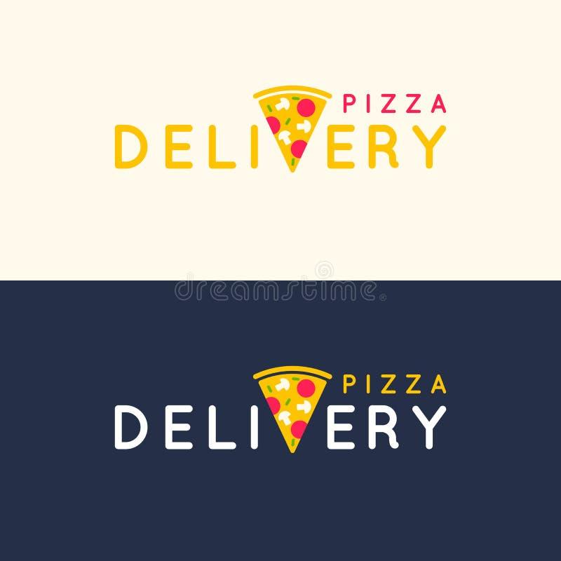 Uppsättning av leveransen för vektorlogopizza i ljus plan stil stock illustrationer