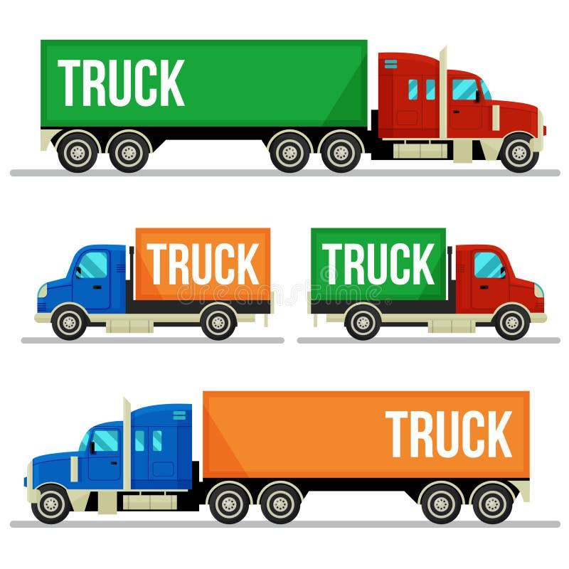 Uppsättning av leveranslastbilar i modern plan stil royaltyfri illustrationer