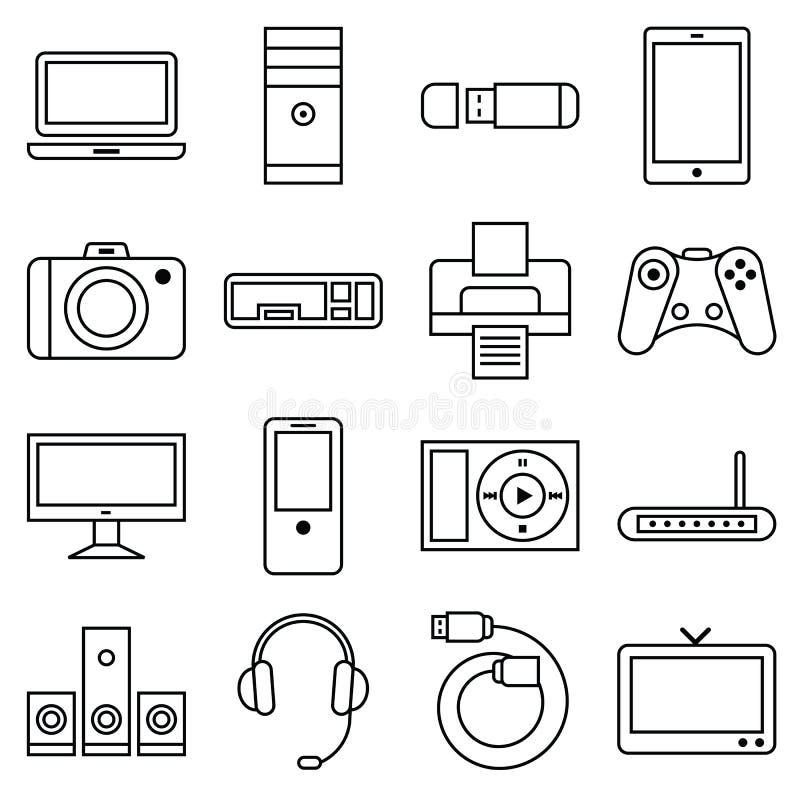 Uppsättning av linjär symbolsdator och annan utrustning vektor illustrationer