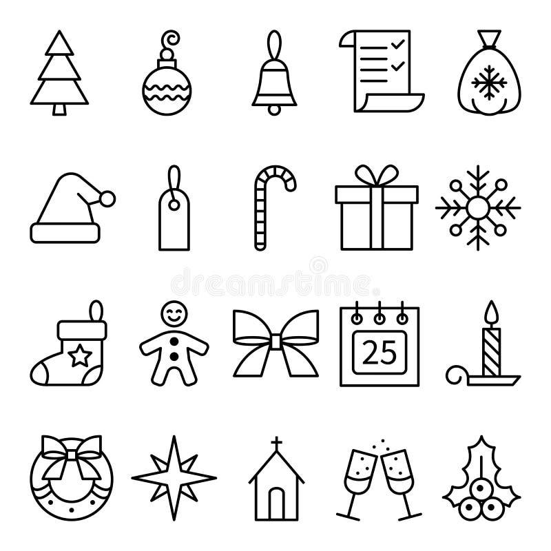 Uppsättning av linjär symbolsjul och det nya året stock illustrationer