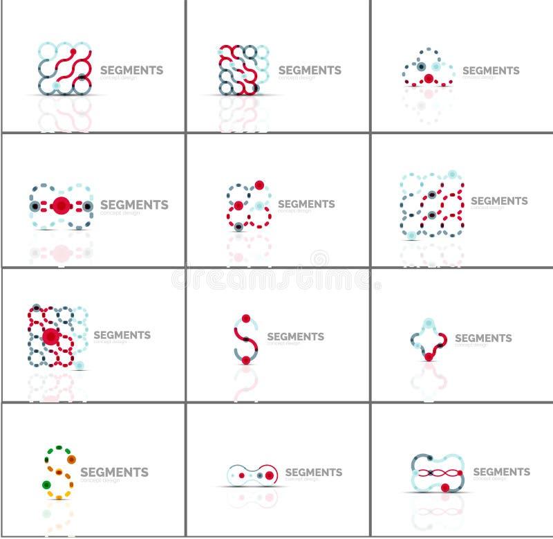 Uppsättning av linjära abstrakta logoer och virvelformer Företagsemblem, affärssymbol vektor illustrationer