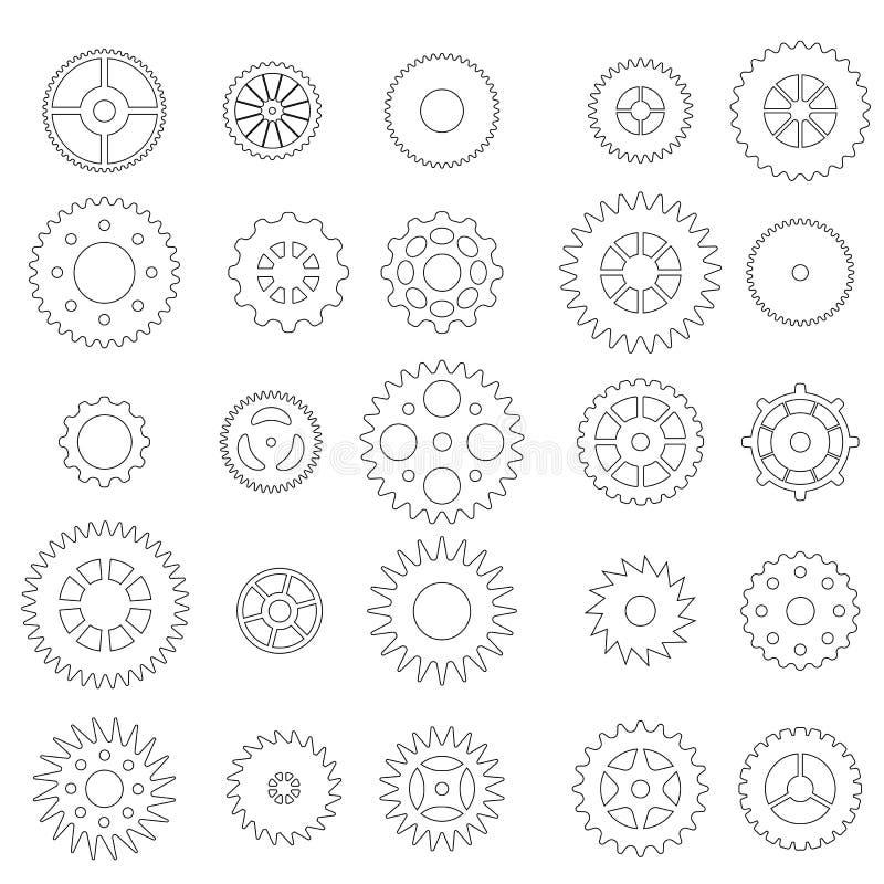 Uppsättning av linjära kugghjul vektor illustrationer