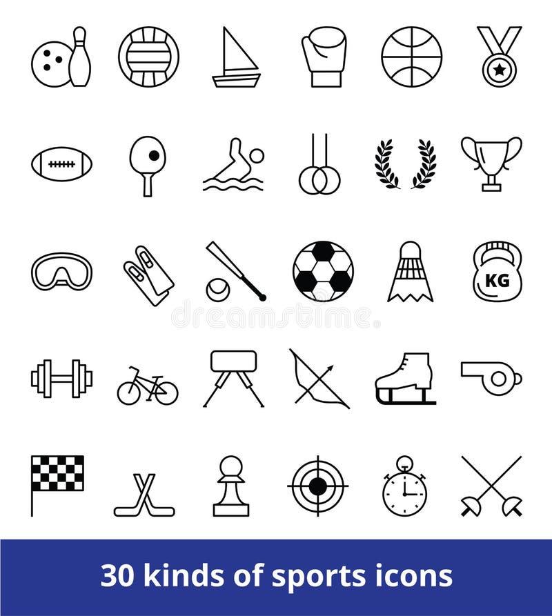 Uppsättning av linjära sorter för vektorrengöringsduksymboler av sportar stock illustrationer