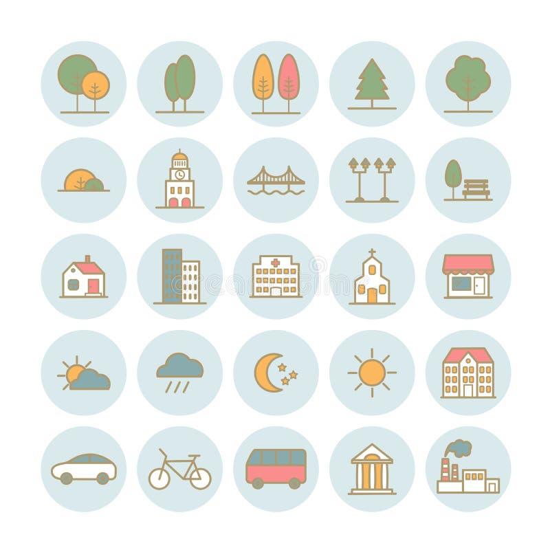 Uppsättning av linjära symboler för vektor av stadslandskapbeståndsdelar stock illustrationer
