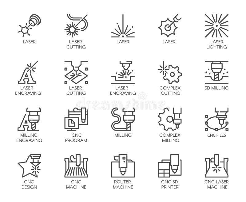Uppsättning av 20 linje symboler i serier av laser-klipp Numerisk kontrollerad skrivare för dator, maskin för malning 3D vektor illustrationer