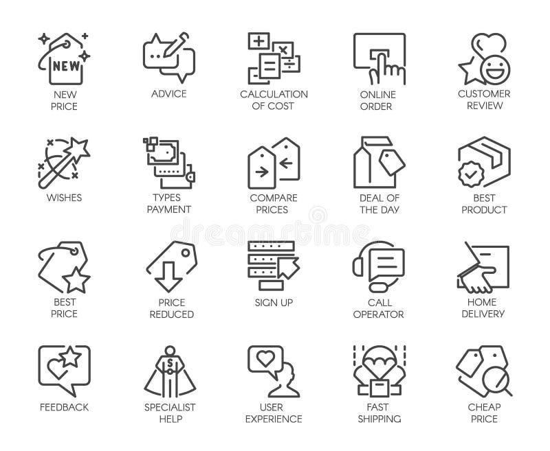 Uppsättning av 20 linje symboler som isoleras på försäljningstema Marknadsföring advertizing, kommerssymboler Logo för erbjudande royaltyfri illustrationer