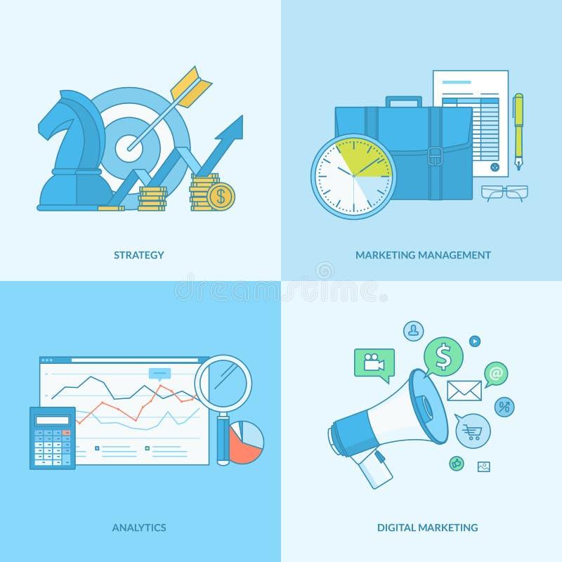 Uppsättning av linjen begreppssymboler för affär och marknadsföring vektor illustrationer