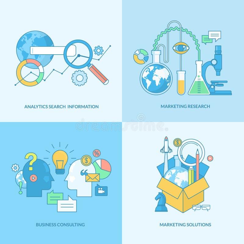 Uppsättning av linjen begreppssymboler för affär och marknadsföring stock illustrationer