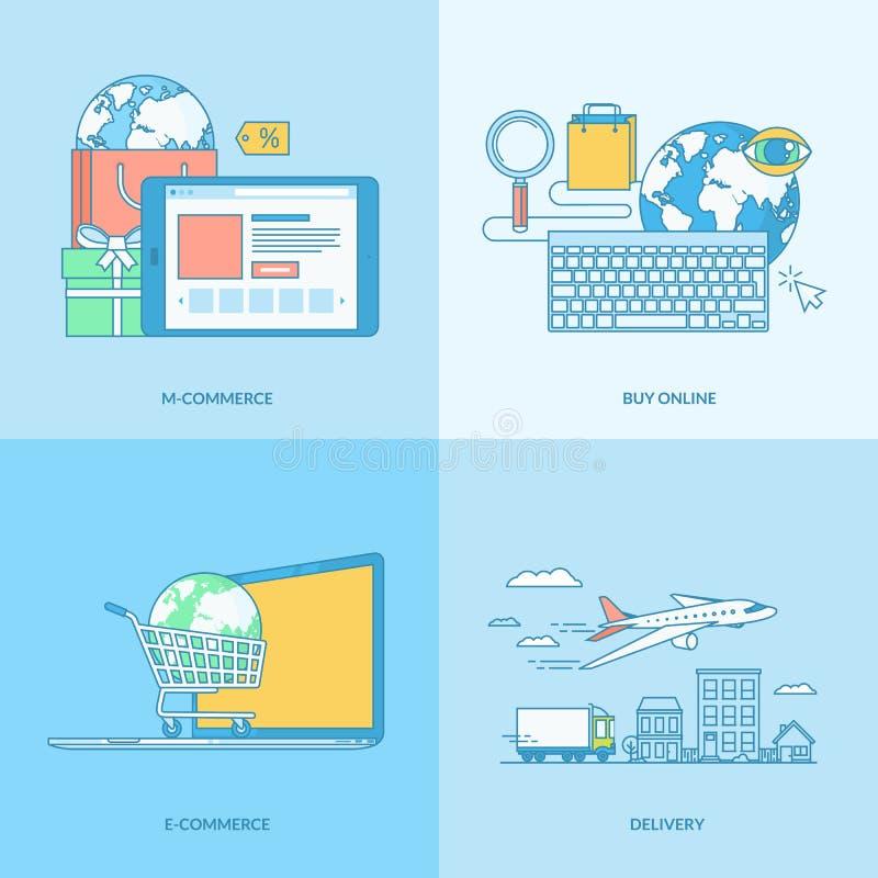 Uppsättning av linjen begreppssymboler för e-kommers stock illustrationer